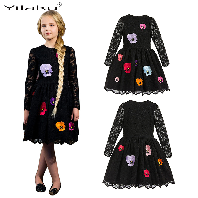 Yilaku Spring Long Sleeve Girls Dresses Party Princess Dress Black Lace Vestido Girl Clothes Kid Costume Dresses for Girls CA473 2018 spring girls dress children lace vestido kids long sleeve princess dresses cotton lining party clothing for 24m 7y