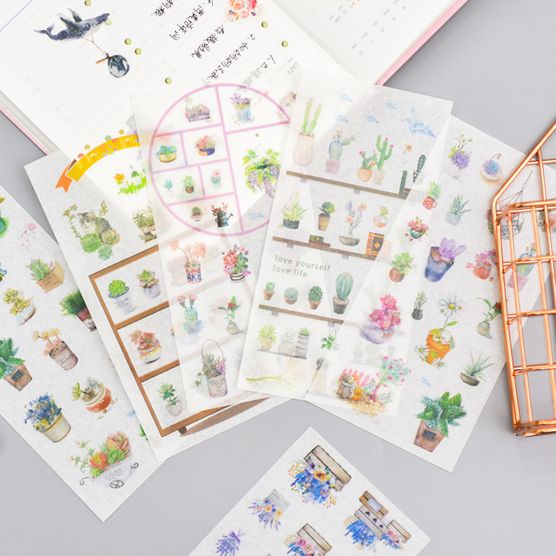 6 Sheets Potted Plant Decorative Washi Stickers Scrapbooking Stick Label Diary Stationery Album Stickers Christmas Gift Labels
