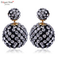 Wholesale 8 Colors Fashion Charms Double Sided Crystal Round Ball Earrings for Women Girl Wedding Stud Earrings Gifts E1360