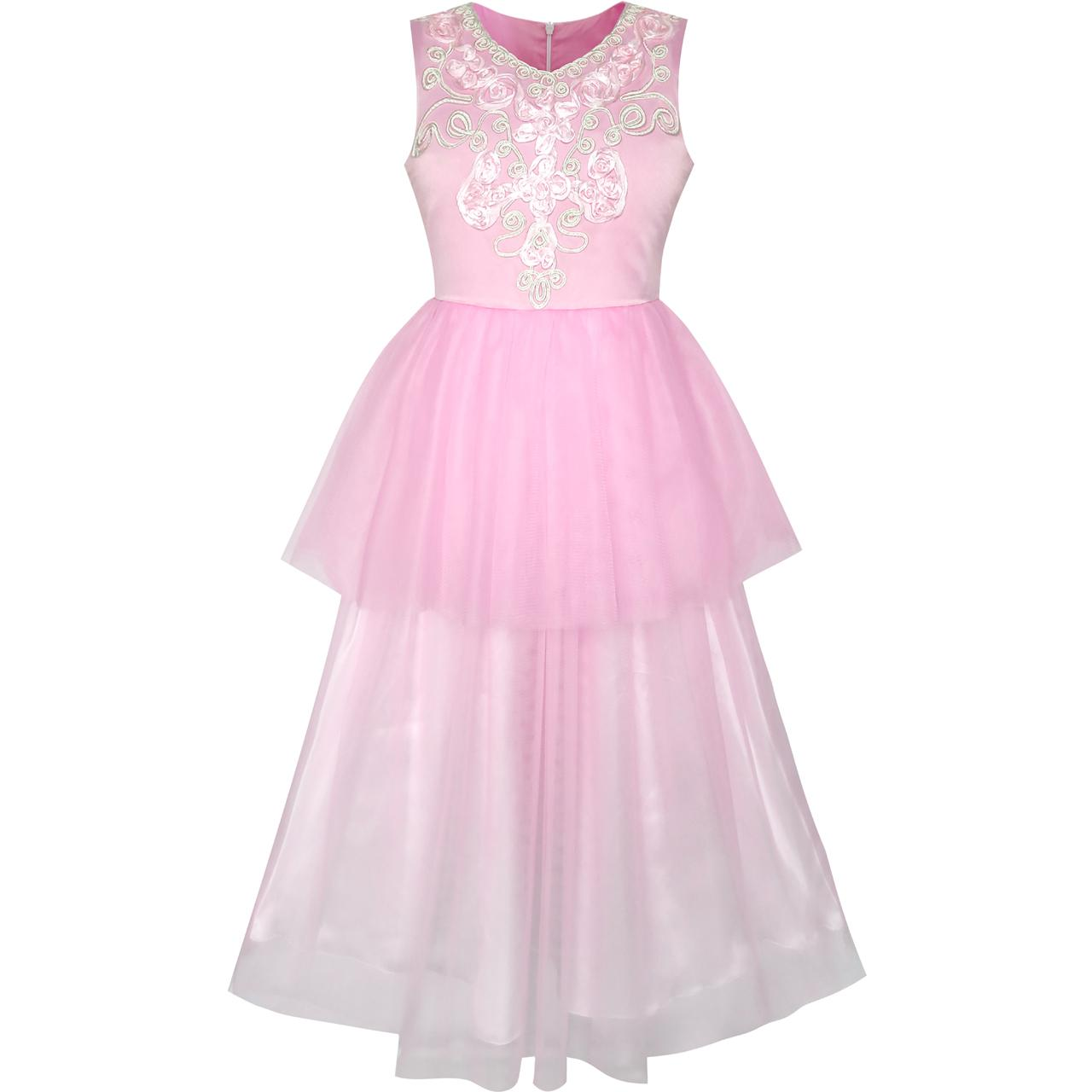 Sunny Fashion Flower Girls Dress Pink Dancing Ball Gown Princess Party 2018 Summer Wedding Gowns Children Clothes Size 7-14 sunny fashion girls dress watermelon tiered flower dance ball princess 2017 summer wedding party dresses clothes size 5 10