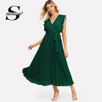 Sheinside Green V Neck Ruffle Trim Long Wrap Dress Elegant Sleeveless Women Summer Dresses 2019 Ladies A Line Pleated Dress