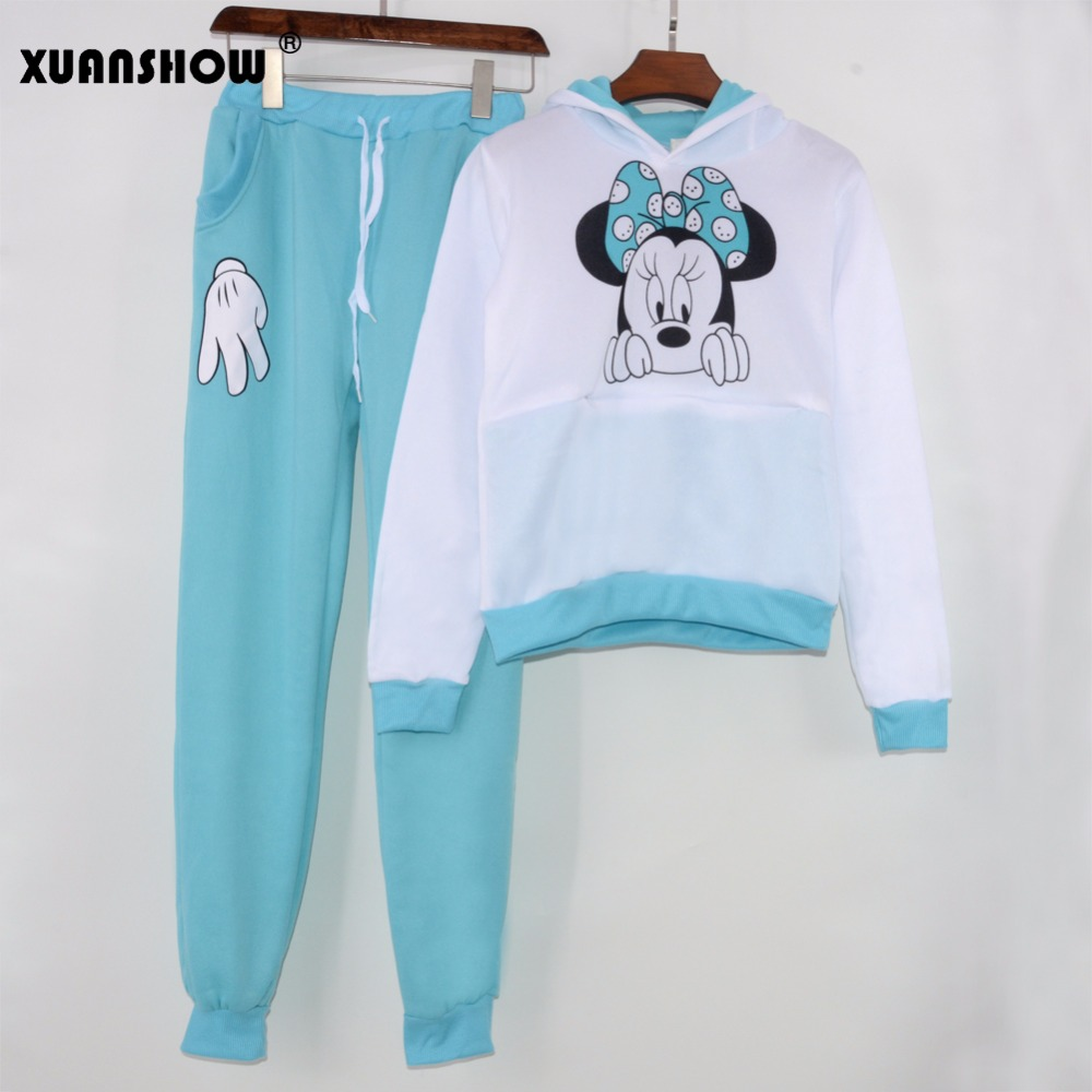 XUANSHOW Women Set Casual Sportswear Cute Ear Cartoon Mouse Printed With Hooded long-sleeved Suit Tenue Tracksuit  Femme HTB1uc8NX1ALL1JjSZFjq6ysqXXas