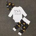Conjuntos de Roupas de Outono 2016 Meninos Roupas de Bebê Bebê recém-nascido de Manga Comprida T-shirt + Calça + Chapéus 3 Pcs ternos de Roupas Crianças H564