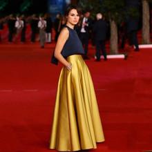 Czarne i złote sukienki Celebrite długość podłogi bez rękawów Jewel Neck elegancka sukienka na studniówkę niestandardowe tanie dwa kawałki suknie wieczorowe tanie tanio DLASSDRESS Wysoka Prawdziwej skóry Celebrity sukienki Satyna Kontrast kolorów -Line Draped