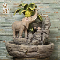 Seven summer Lucky Elephant water fountain animal decoration Feng Shui Chinese furniture entrance TV cabinet resin crafts