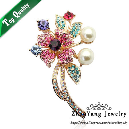 ZYX001  Elegant Flower Imitation Imitation Pearl 18K Champagne Gold Plated Brooches Austrian Crystal  Wholesale