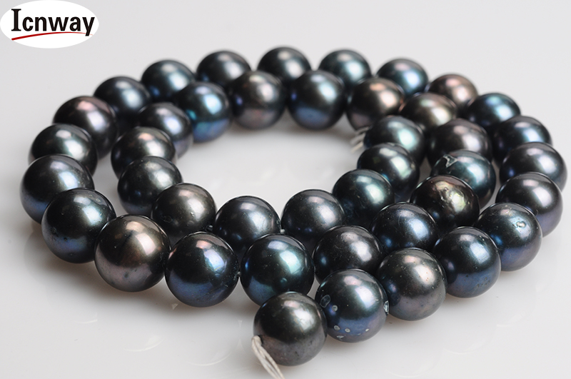Freeshipping Natural Round Aa Black grey Peacock Green And Blue freshwater Pearl 12-13mm 15inches Diy Necklace Wholesale