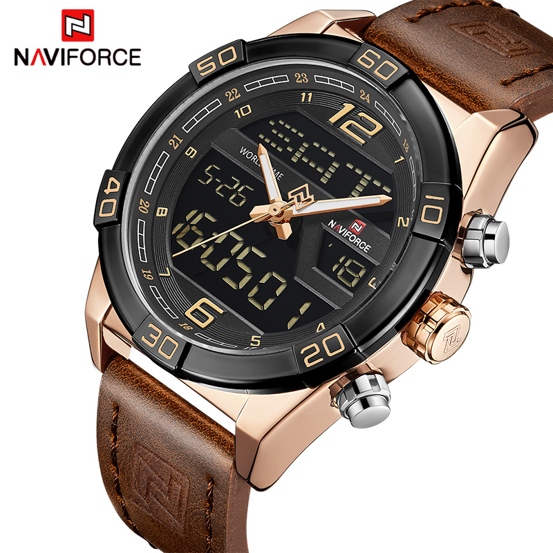 Men Leather Sports Watch Waterproof Quartz Digital Clock Man Army Military Wristwatches