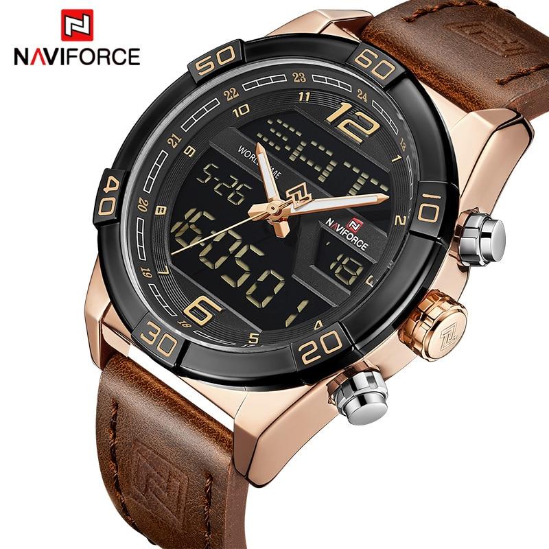 цена на Mens Watches Top Luxury Brand NAVIFORCE Men Leather Sports Watch Waterproof Quartz Digital Clock Man Army Military Wristwatches