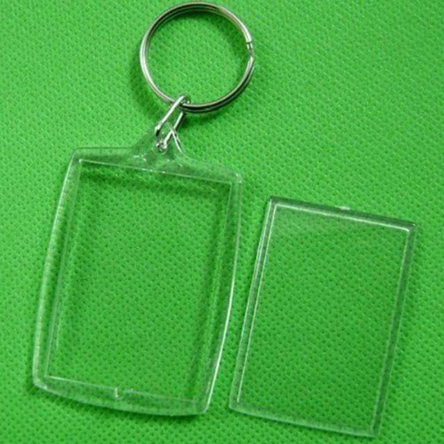 10 Pcs keychain Transparent Blank Photo Picture Frame Key Ring Split Ring 32x46m