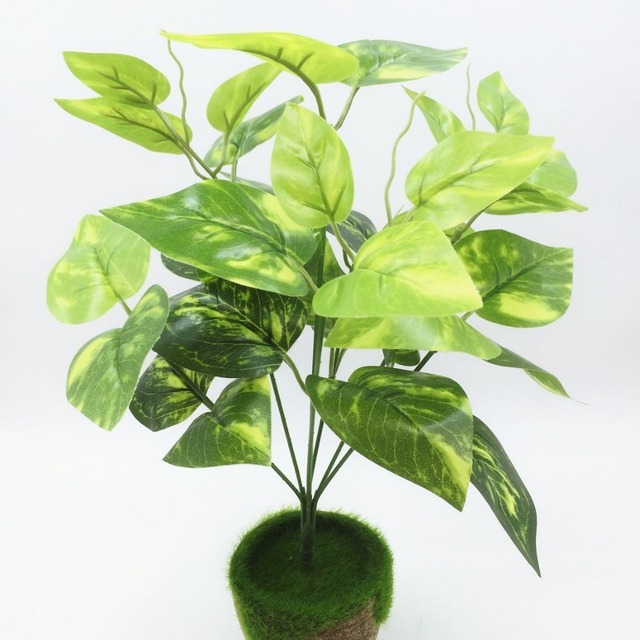 2017 Real 1pcs Large 34cm Evergreen Artificial Plant 28 Leaves Lifelike Bush Potted Plastic Tree Home Garden Office Decoration