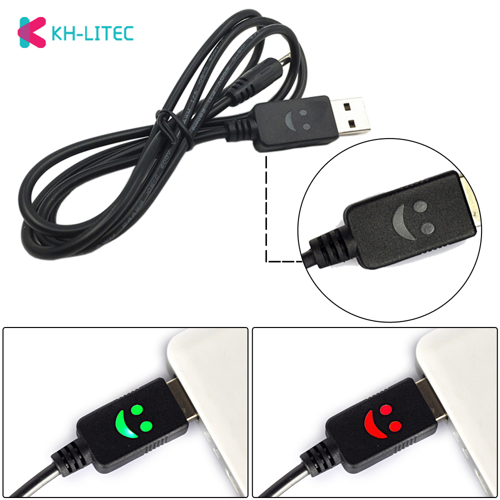 KHLITEC Portable 1m 3ft Smiling Face 4.2V Headlamp USB Charger Cord Headlight USB Wall Charging Cable Smile Face Flashlight Line