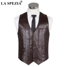 LA SPEZIA Men Vest Leather Brown Casual Waistcoat Male Zipper Pockets Real Thick Warm Winter Classic Sleeveless Jacket