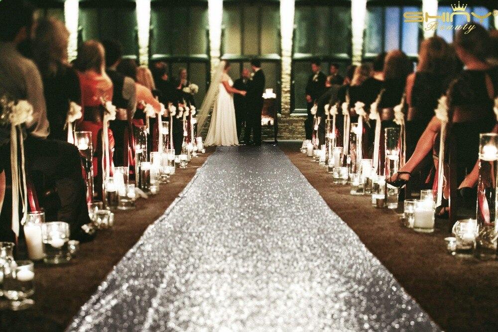 ShinyBeauty Aisle Runner Tape Silver 4FTX60FT Shimmer Sequin Fabric Wedding Floor Runner Glitter Carpert Runner am