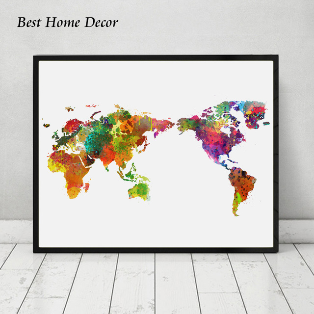 Colorful watercolor world map art print living room wall art world colorful watercolor world map art print living room wall art world map wall hanging watercolor art gumiabroncs Image collections