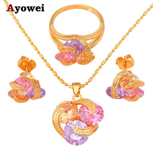 efab94345fa8 Collar de tono dorado anillo pendiente conjunto de cristal de Color joyería  de moda anillo sz