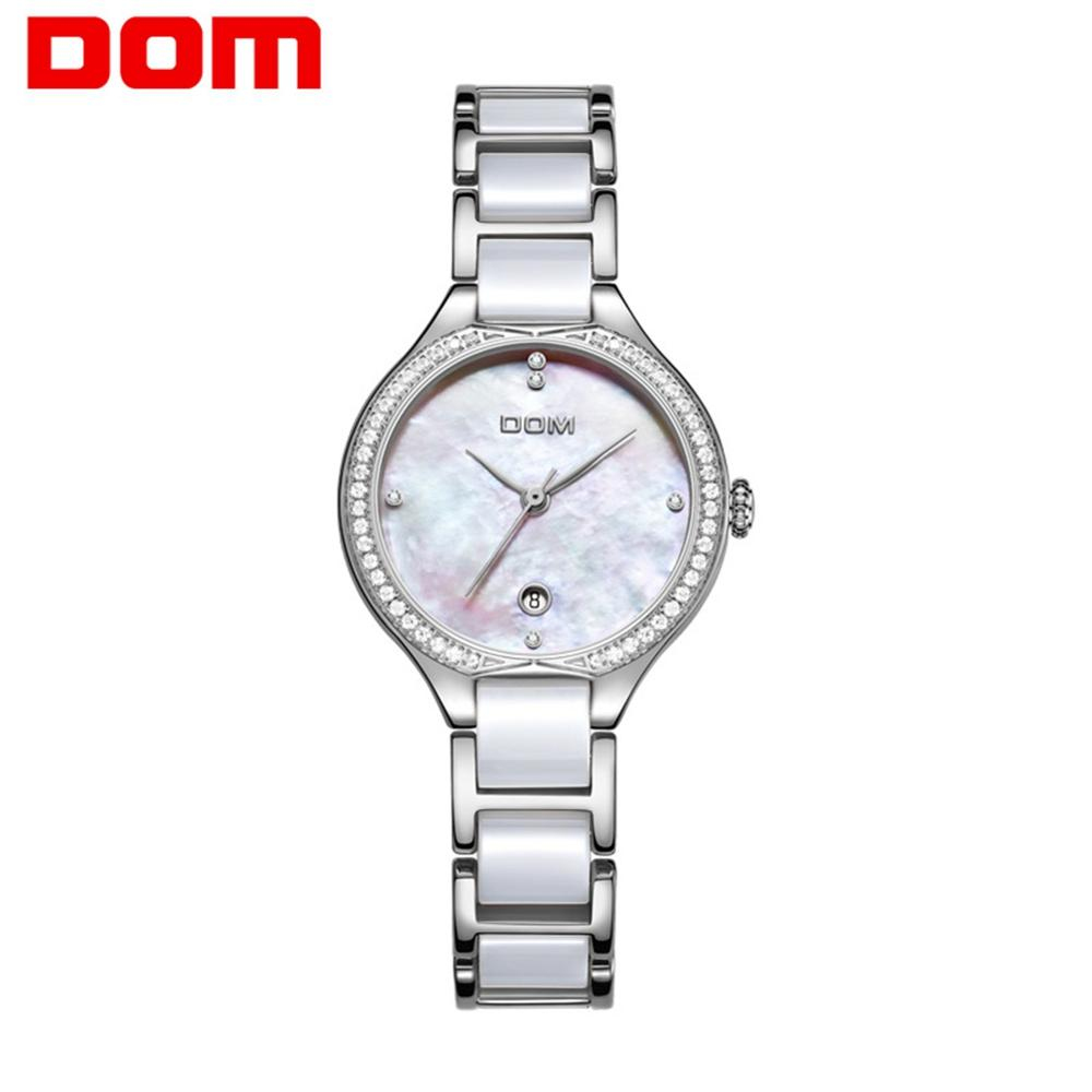 DOM Fashion Women Watches Ladies Top Brand Luxury Ceramic Diamond Quartz Watch Women White Waterproof Bracelet Watch G-1271D-7M