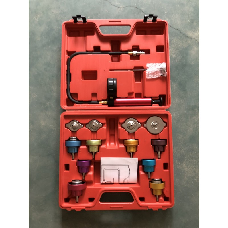 14Pcs Car Leak Detector Tool Auto Cooling System Coolant Vacuum Purge Full Set Universal Automotive Radiator Pressure Tester Kit
