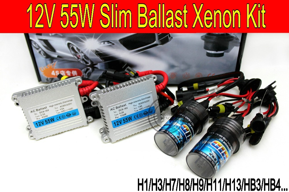 Free shipping High quality 12V 55W hid xenon kit H1 H3 H7 H9 H11 H4 Bi xenon Hi/Low 9005 9006 6000K hid kit xenon for Headlight makibes h3 55w 12v xenon hid kit car headlight xenon bulb