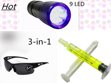 1PC leaks flashlight,1PC R134a R410 R12 Car Fluorescent oil,1PC Leak glasses,3-in-1 Automotive Air Conditioning Repair Tool Kit