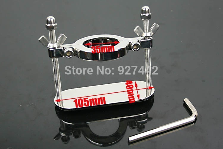 35mm stainless steel Scrotum Stretchers Scrotum ring metal Locking Hinged Cock Ring CBT Ball Stretchers Chrome Finish