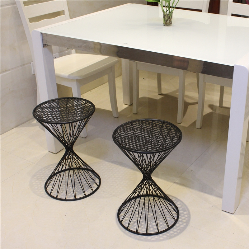 Fashion Personality Creative Hollow Iron Dinette Breathable Modern Simplicity Stool Household Sofa Stool European chair excellent quality simple modern stools fashion fabric stool home sofa ottomans solid wood fine workmanship chair furniture