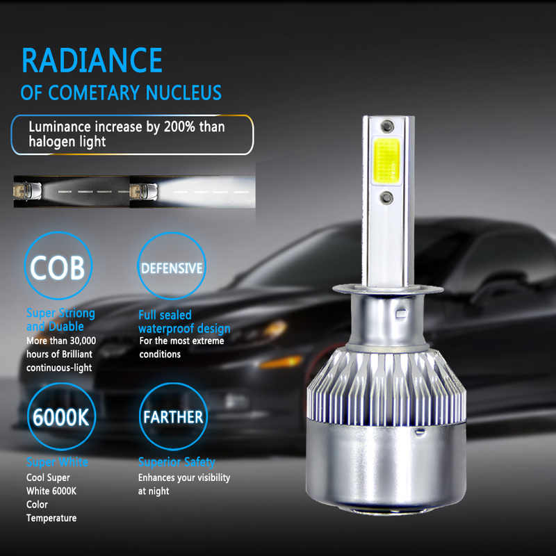 1pair Car Headlight Led H4 H7 H11 H13 880 9004 9005 9006 9007 H3 H1 72W 8000LM 6000K High/Low Beam Power Bulbs Kit Dropshipping