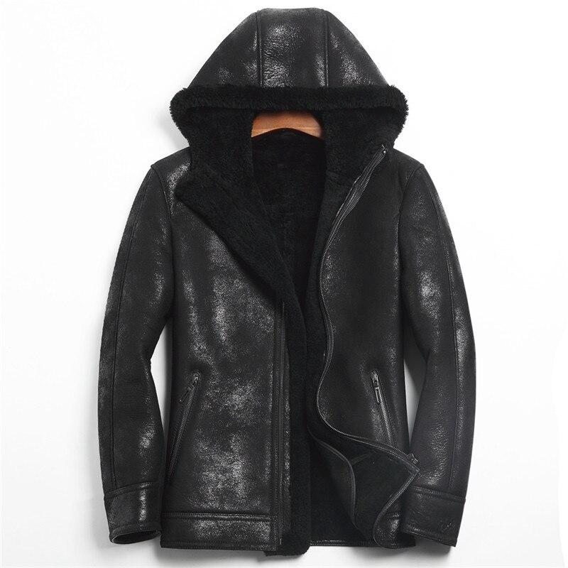 Denny&Dora Winter Original Fur Coat With Mens Leather Jacket,Sheepskin Coat Hooded
