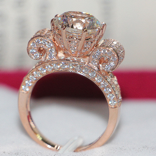3CT 18K Rose Gold Plated Jewelry No Fade SONA Diamond Ring Engagement Rose  Gold Finish Silver