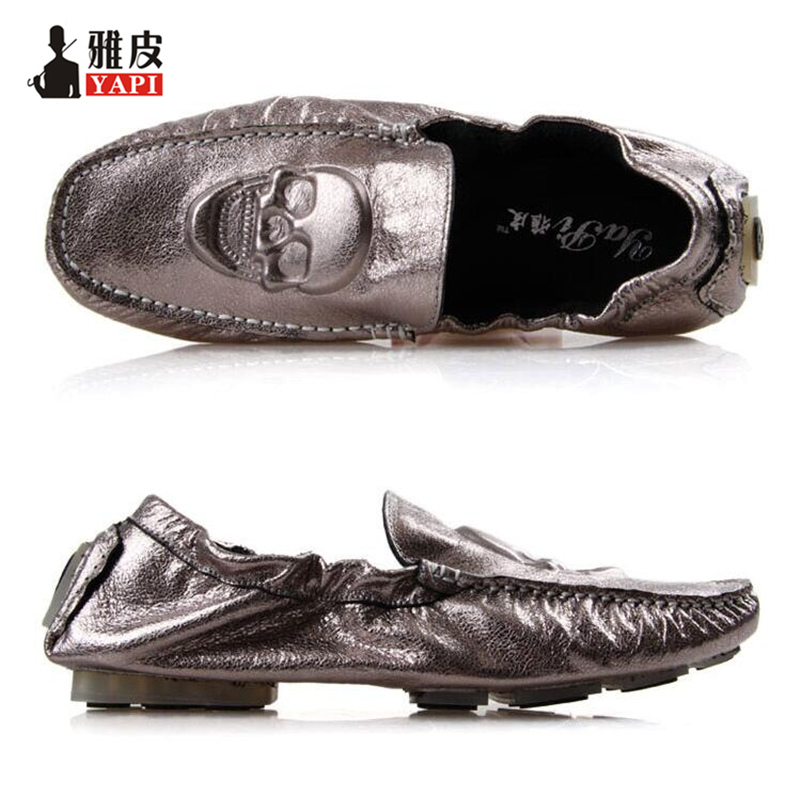 US6 10 New REAL Leather Comfort Skull Prints Loafer Fashion Men Driving Car Shoes Slip On