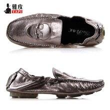 US6-10 Nueva Comodidad Cuero REAL Impresiones Cráneo Mocasines Moda de Los Hombres Zapatos de Conducción de Coches de Deslizamiento En Los Zapatos Del Barco