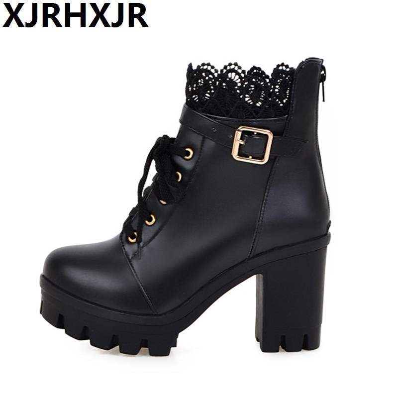 Short Boots Spring Winter Single Boots Women's Shoes High-heeled Martin Boots British Style Lace Round Toe Big Size Ankle Boots 2017 new retro shoes lace high heeled boots martin british burning ultra thick with round head short boots female big shoes