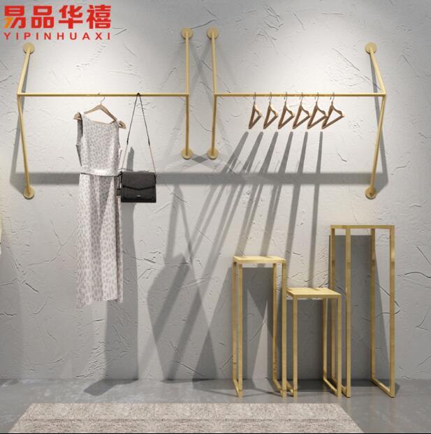 Clothing store display rack wall mounted women's clothing store shelf display rack