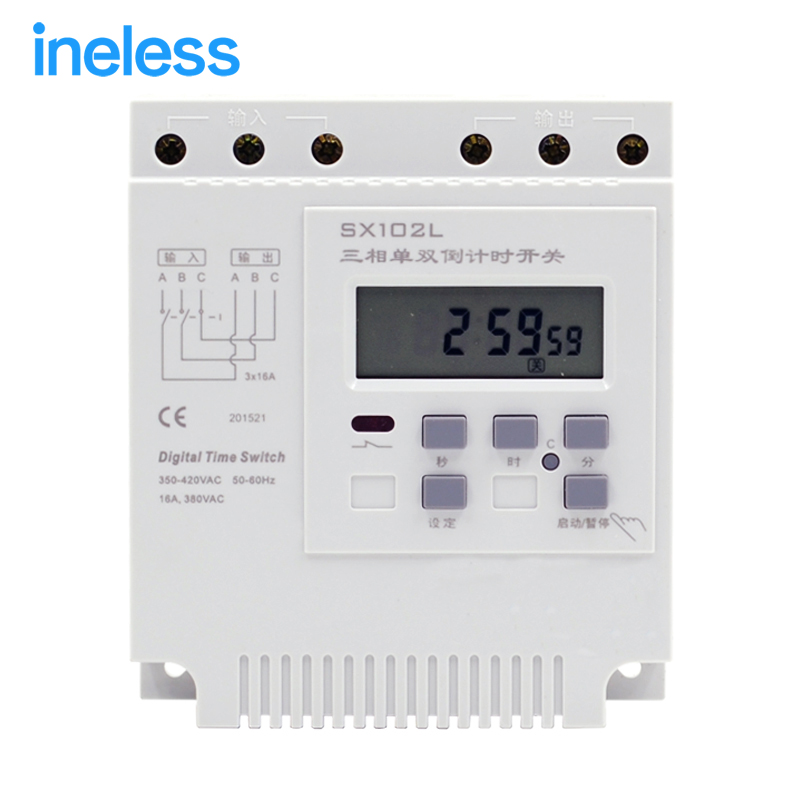 SX102L 380V pump motor cycle second control time timer three - phase single - double countdown control switch controller