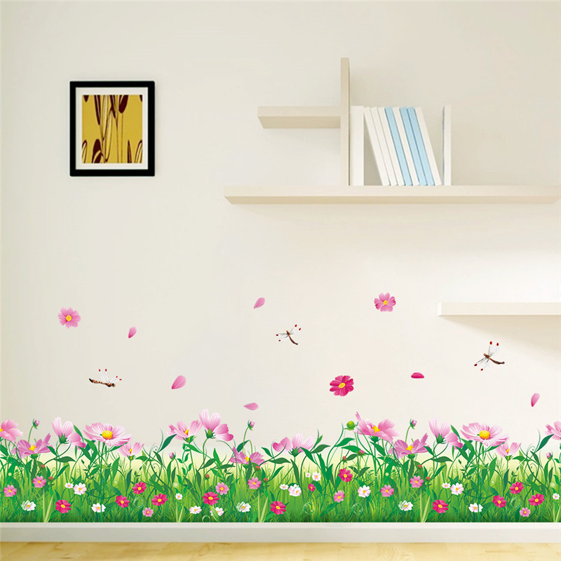Diy wall stickers home decor nature colorful flowers grass dragonfly stickers - Stickers muraux deco ...