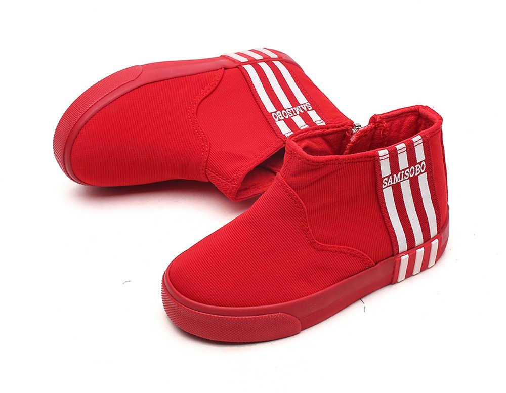Zapatillas de lona para niños, zapatillas de deporte, tiras blancas de color azul marino, botas de tobillo, zapatos de tenis para niños grandes, cierre de cremallera unisex para niñas