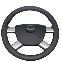 Genuine Leather Braid on Steering Wheel Cover for Ford Focus 2 2005-2011 Tampa do volante do carro car styling Decorative sequin