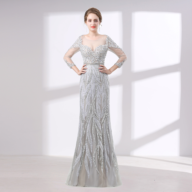 bb5fffaddcab Elegant Silver Evening Dress 2018 Mermaid Long Sleeves Sheer Neck Stunning  Beaded Crystal Women Prom Evening Gown Robe De Soiree ~ Super Sale July 2019