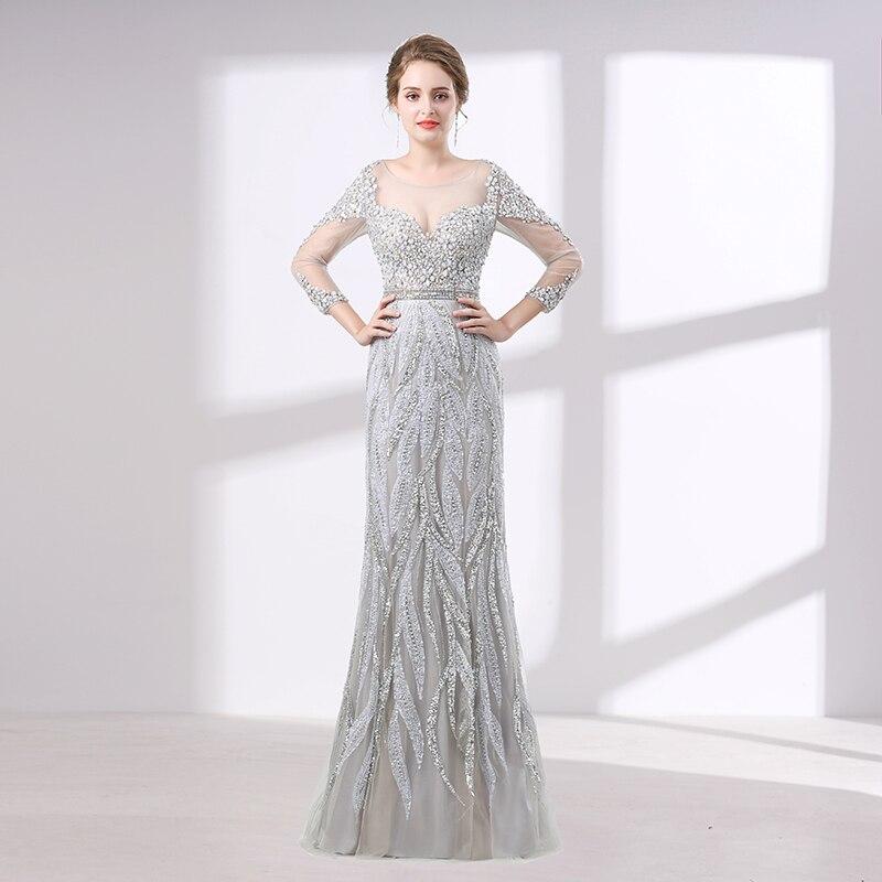 Robe De soirée élégante en argent 2018 sirène à manches longues col transparent superbe perlée cristal femmes Robe De soirée Robe De soirée