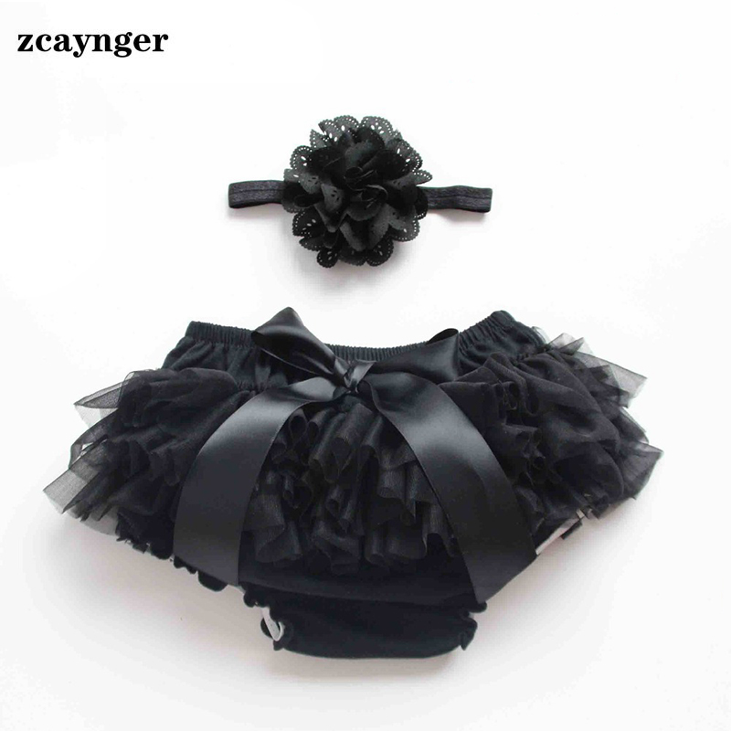 Cotton Baby   Shorts   Girl Headbands Black Breeches Lace Baby Diaper Cover Newborn Baby   Shorts   Fit 0-24M Girl Ruffle Bloomers
