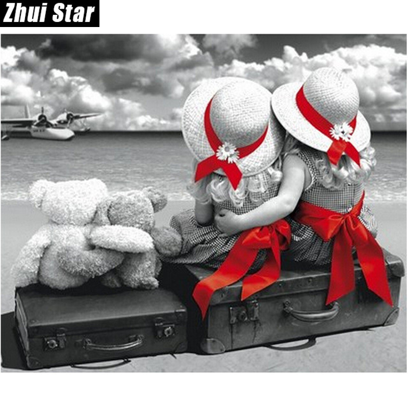 "Zhui Star Full Square Diamond 5D DIY Diamond Painting ""two children"" 3D Embroidery Cross Stitch Mosaic Painting Home Decor BK"