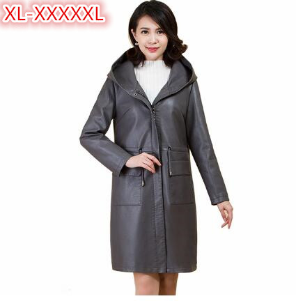 Fashion Women   Leather   jackets For Spring 2018 Casual Loose Hooded   Leather   Coat Plus Size Women's Medium Length Trench PU 4XL 5XL