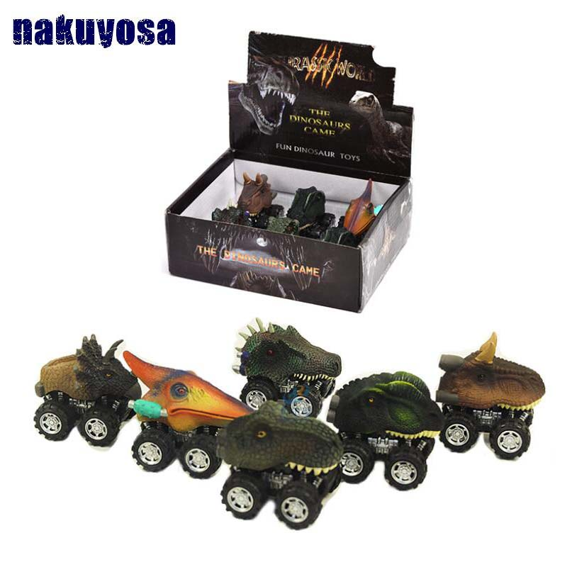 6 Styles Children's Day Gift Toy Dinosaur Model Mini Toy Pull Back Car Truck Hobby Funny Birthday Gift For Kids Drop Shipping