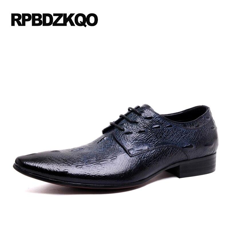 Printemps Italien Bleu Bout Appartements Crocodile Alligator Automne Respirant Lacent Robe 2017 Partie Hommes bleu Noir Mode Pointu Chaussures O5x68qzw