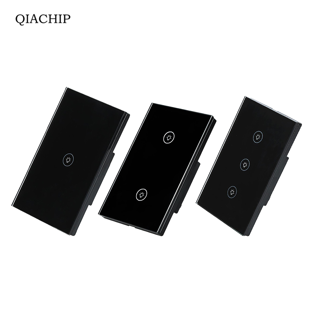 QIACHIP 1Gang/2Gang/3Gang US Touch RF433 Switch Smart Home Automation Wireless Wifi Remotel Control Wall Light BLACK smart home eu touch switch wireless remote control wall touch switch 3 gang 1 way white crystal glass panel waterproof power