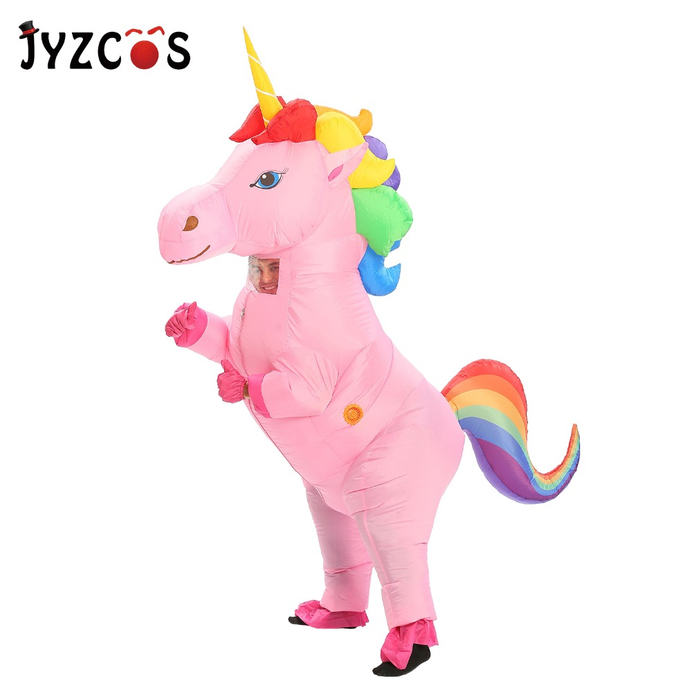 JYZCOS New Unisex Adults Kids Inflatable Unicorn Costume Carnival Halloween Costumes Animal Cosplay Clothing Fancy Dress Suits