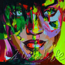 Palette knife portrait Face Oil painting christmas figure canva Hand painted Francoise Nielly wall Art picture for living room60