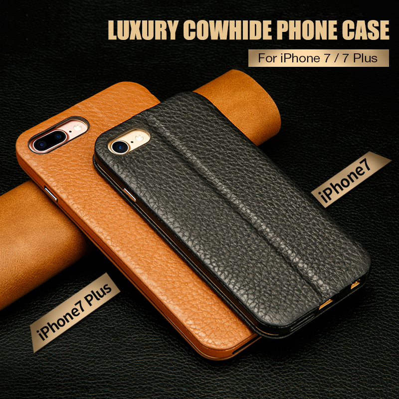 Jisoncase Flip Cover Genuine Leather Phone Case for iPhone 7 7 plus Magnet Stand Anti-knock Case for iPhone 8 8 plus Vintage