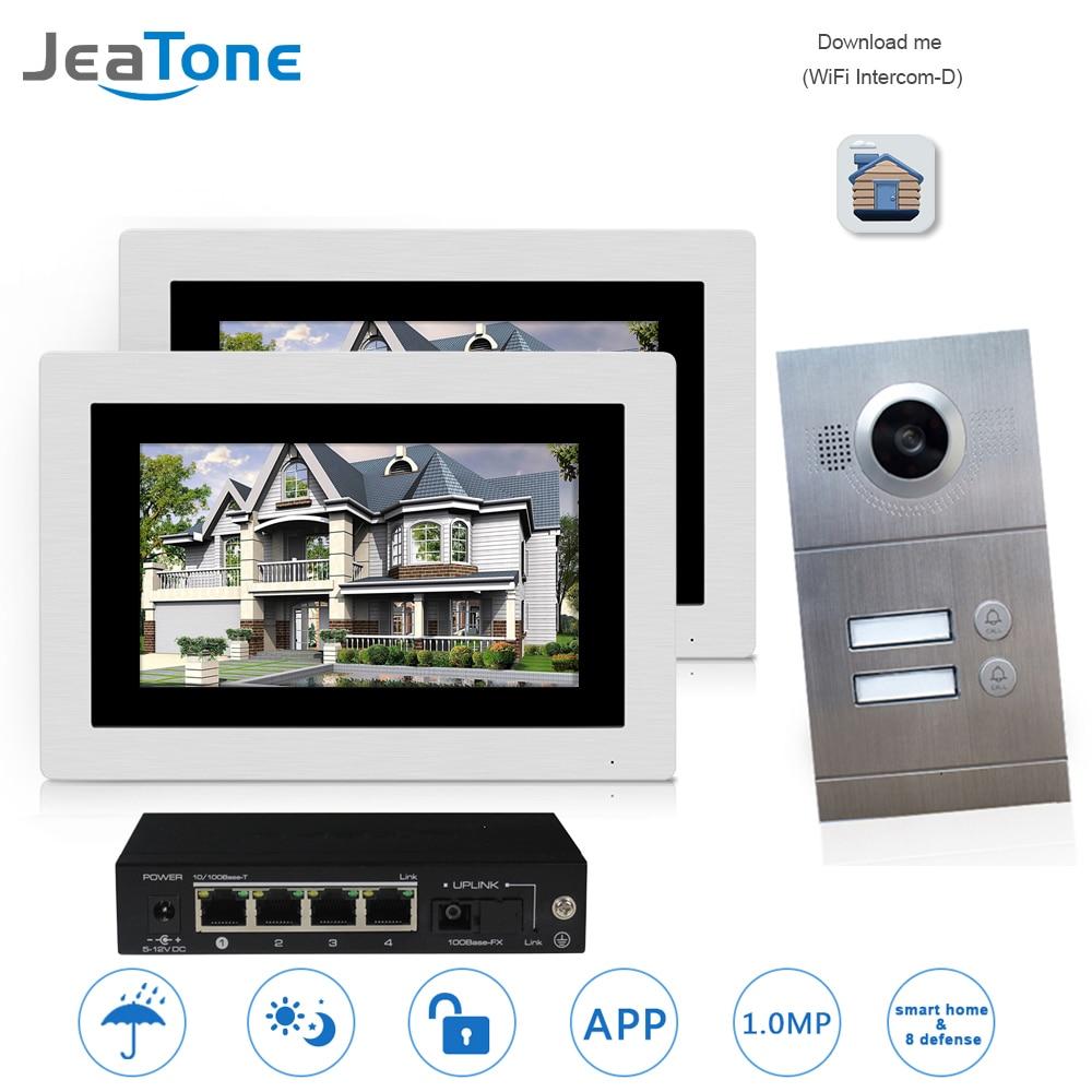 WIFI IP Video Door Phone Intercom System Video Doorbell 7'' Touch Screen For 2 Floors Apartment/8 Zone Alarm Support Smart Phone