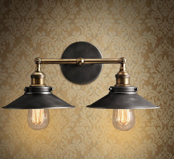 2016 2 Color Modern Vintage Industrial Loft Metal Double Rustic Sconce Wall Light Wall Lamp High